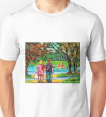 AUTUMN MAPLE TREES CANADIAN LANDSCAPE PAINTING ROMANTIC STROLL ON MONT ROYAL TO BEAVER LAKE CAROLE SPANDAU T-Shirt