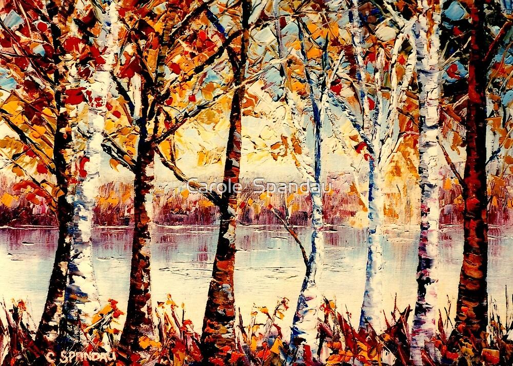 BIRCH AND POPLAR TREES CANADIAN LANDSCAPE PAINTING COUNTRYSIDE LAKE VIEW CAROLE SPANDAU CANADIAN ARTIST by Carole  Spandau
