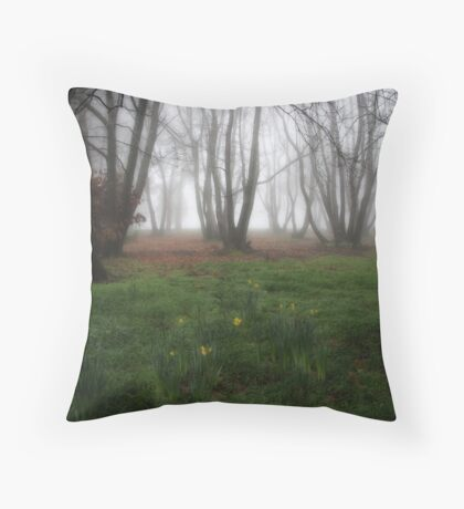 Daffodils in the chestnut grove Throw Pillow