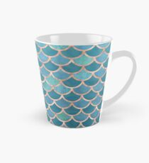 Teal Blue Rose Gold Mermaid Scales Tall Mug