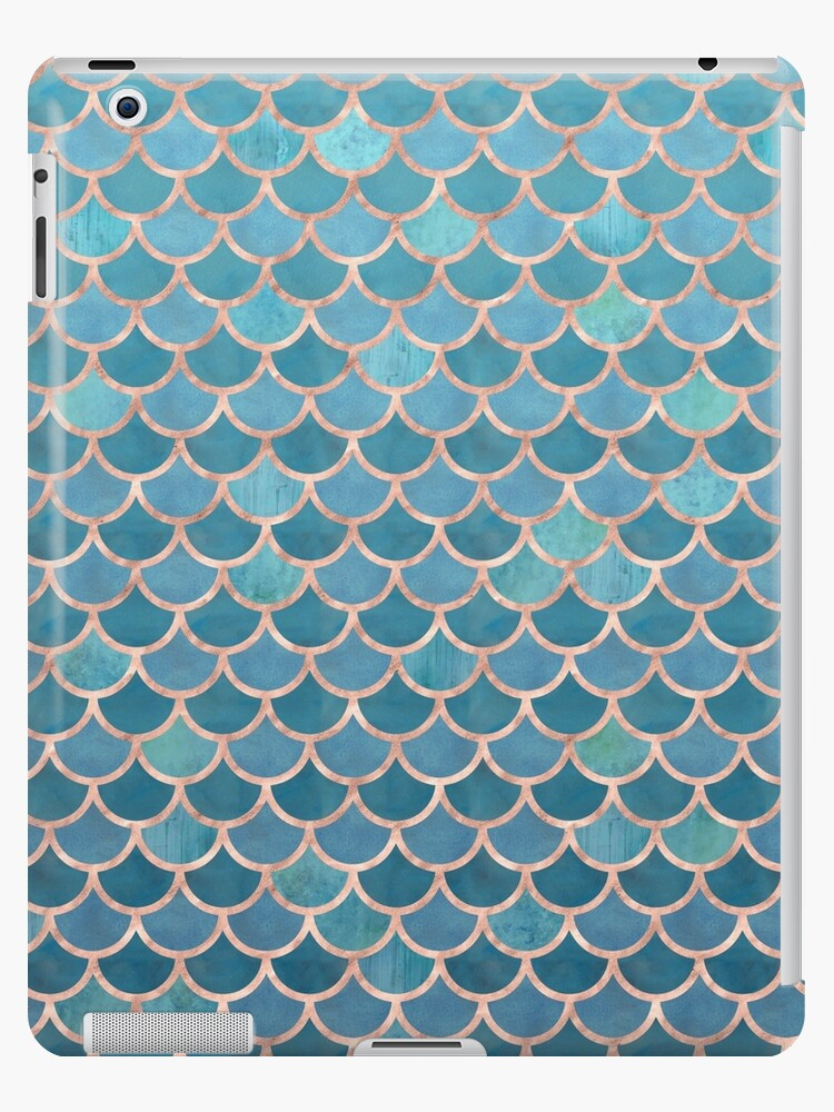 18a0cd1eb623 'Teal Blue Rose Gold Mermaid Scales' iPad Case/Skin by blueskywhimsy