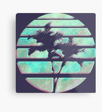Vaporwave Palm Trees in the Sun - Blue Metal Print
