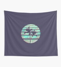 Vaporwave Palm Trees in the Sun - Blue Wall Tapestry