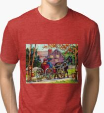 SUGAR SHACK CANADIAN LANDSCAPE PAINTING ONTARIO MAPLE HORSE AND BUGGY COUNTRY SCENE CAROLE SPANDAU FINE ART Tri-blend T-Shirt