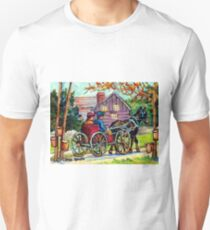 SUGAR SHACK CANADIAN LANDSCAPE PAINTING ONTARIO MAPLE HORSE AND BUGGY COUNTRY SCENE CAROLE SPANDAU FINE ART T-Shirt