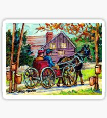 SUGAR SHACK CANADIAN LANDSCAPE PAINTING ONTARIO MAPLE HORSE AND BUGGY COUNTRY SCENE CAROLE SPANDAU FINE ART Sticker