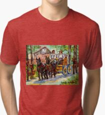 SUGARING OFF MAPLE TREES ONTARIO COUNTRY SCENE CANADIAN LANDSCAPE PAINTING HORSES PULLING WAGON CAROLE SPANDAU Tri-blend T-Shirt