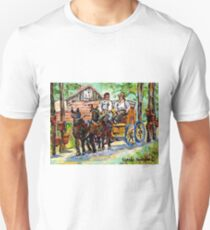 SUGARING OFF MAPLE TREES ONTARIO COUNTRY SCENE CANADIAN LANDSCAPE PAINTING HORSES PULLING WAGON CAROLE SPANDAU T-Shirt