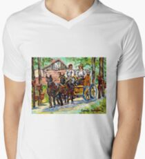 SUGARING OFF MAPLE TREES ONTARIO COUNTRY SCENE CANADIAN LANDSCAPE PAINTING HORSES PULLING WAGON CAROLE SPANDAU Men's V-Neck T-Shirt