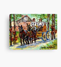 SUGARING OFF MAPLE TREES ONTARIO COUNTRY SCENE CANADIAN LANDSCAPE PAINTING HORSES PULLING WAGON CAROLE SPANDAU Canvas Print