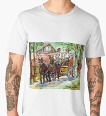 SUGARING OFF MAPLE TREES ONTARIO COUNTRY SCENE CANADIAN LANDSCAPE PAINTING HORSES PULLING WAGON CAROLE SPANDAU Men's Premium T-Shirt