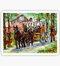 SUGARING OFF MAPLE TREES ONTARIO COUNTRY SCENE CANADIAN LANDSCAPE PAINTING HORSES PULLING WAGON CAROLE SPANDAU Sticker
