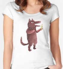Wolf with Ice Cream Women's Fitted Scoop T-Shirt