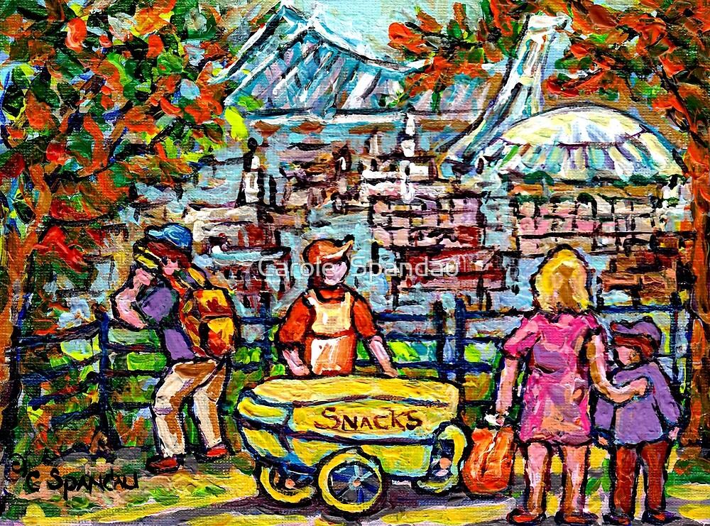 LOOKOUT BEAVER LAKE CHIPWAGON MONT ROYAL PARK BIG O SKYLINE CANADIAN PAINTING CAROLE SPANDAU ARTIST by Carole  Spandau