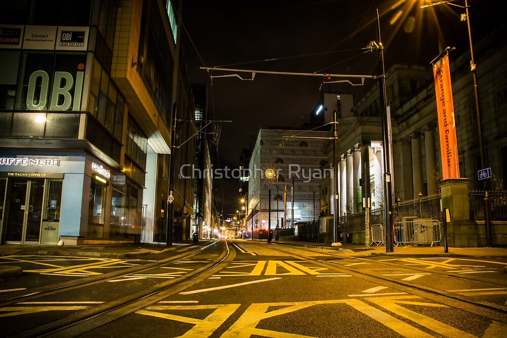 Manchester city, Night,  by Christopher Ryan