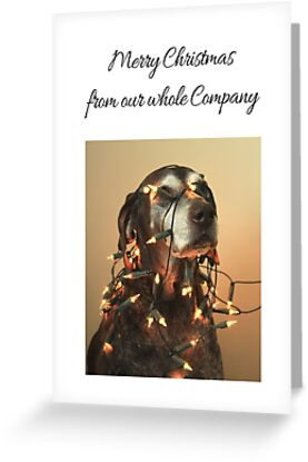 Business Christmas Card: German shorthaired Pointer with Lights by Sabbia-Natale