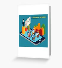 Business Webinar. Webinar Technology. Web Seminar. Modern Technology. Modern Education. Educational Process. Network Education. Business Meeting. Isometric People. Isometric Concept.  Greeting Card