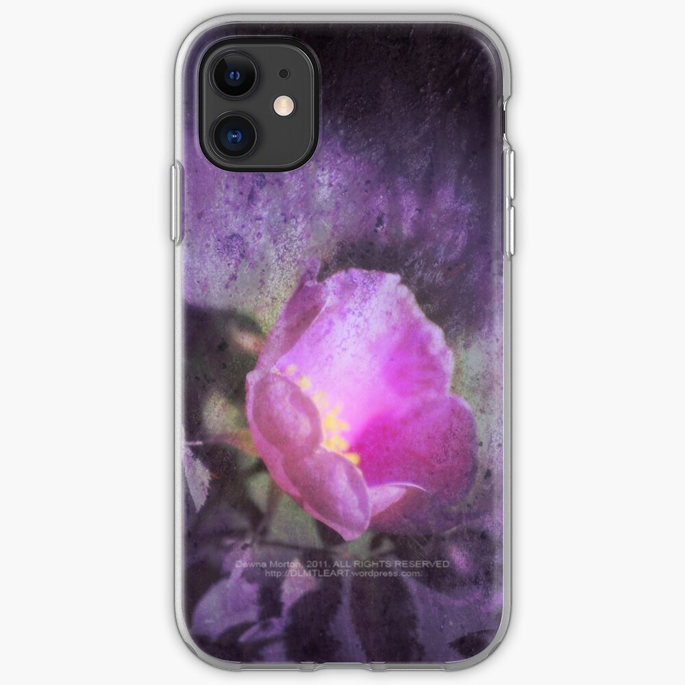 Old fashioned pink rose, purple texture iPhone Case & Cover