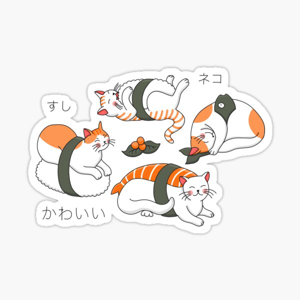 Kawaii Neko Sushi Sticker