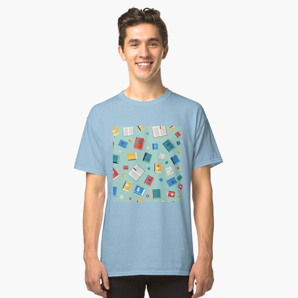 Libros de patrones sin fisuras. Diferentes libros coloridos. Ilustración de vector en estilo plano Camiseta clásica