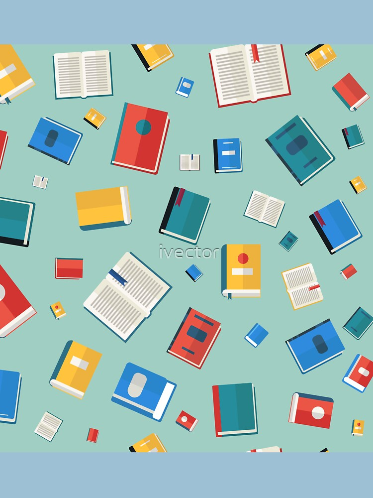 Libros de patrones sin fisuras. Diferentes libros coloridos. Ilustración de vector en estilo plano de ivector