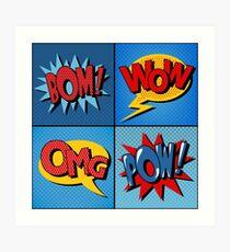 Set of Comics Bubbles in Vintage Style Art Print