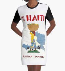 """HAITI"" Vintage Travel Advertising Print Graphic T-Shirt Dress"