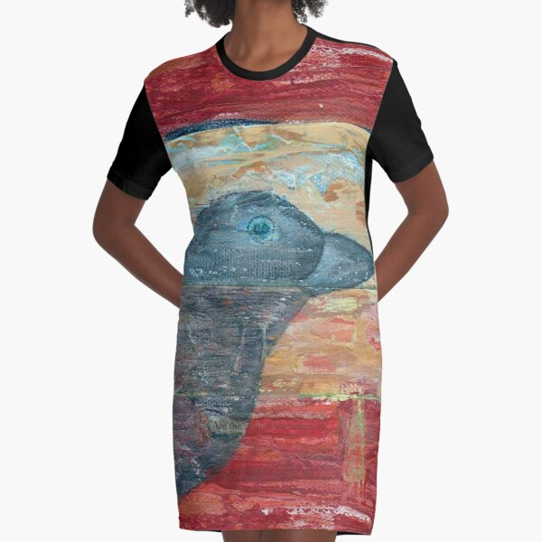 Raven Shadow Mixed Media Graphic T-Shirt Dress