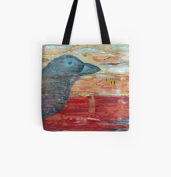 Raven Shadow Mixed Media All Over Print Tote Bag