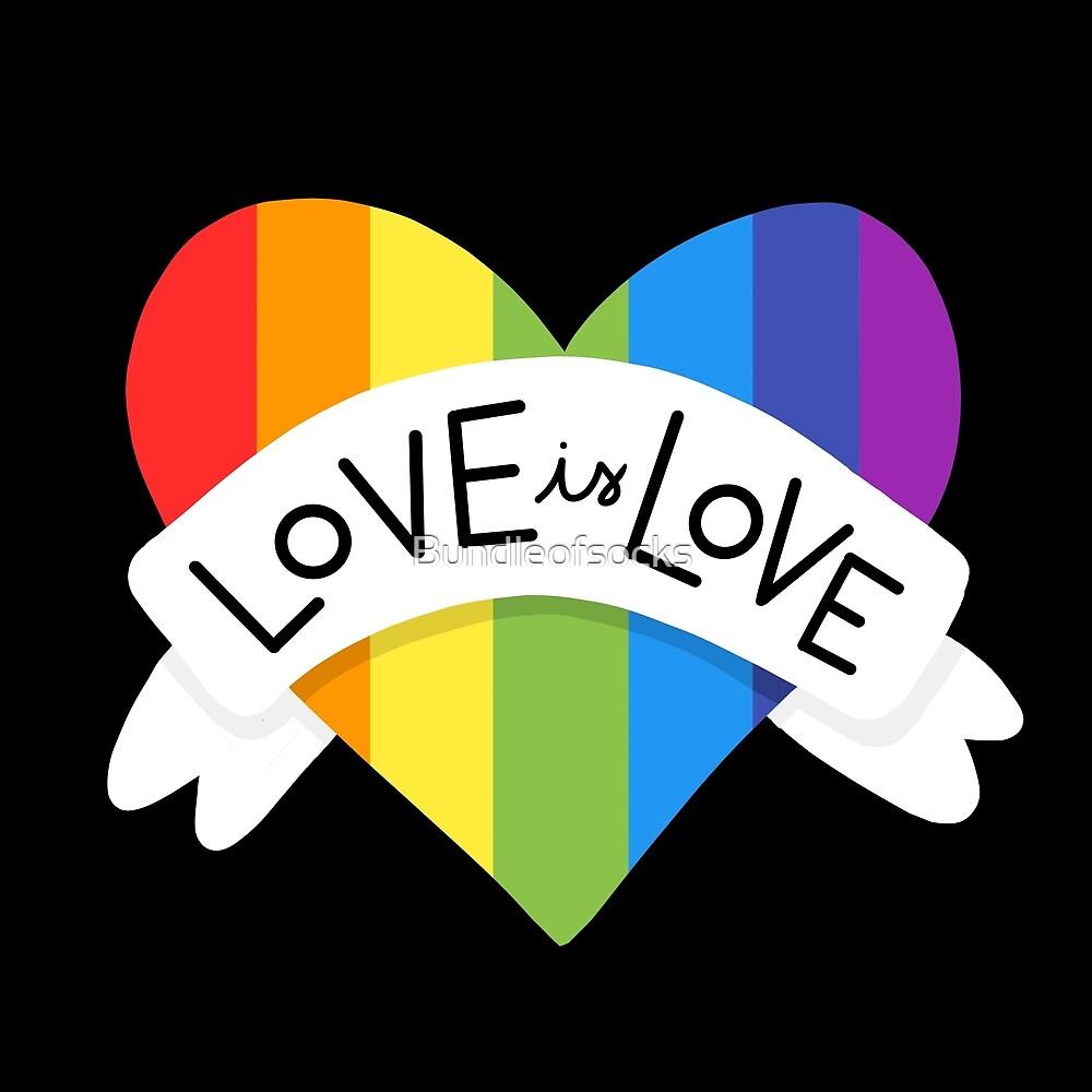 Rainbow Heart Love is Love by Bundleofsocks
