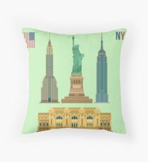 Cojín Conjunto de edificios famosos de Nueva York: Estatua de la Libertad, Museo Metropolitano de Arte, Empire State Building, Edificio Chrysler