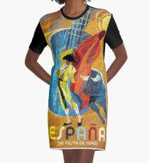 SPAIN; Vintage Bull Fight Advertising Print Graphic T-Shirt Dress