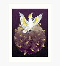 Cockatoo Planet - where cockatoos grow their crests Art Print