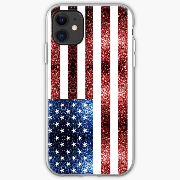 USA flag red blue sparkles glitters iPhone Soft Case