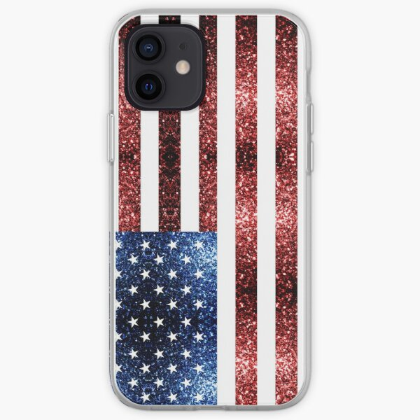 USA flag red blue faux sparkles glitters iPhone Soft Case