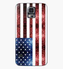 Rotes Blau der USA-Flaggen funkelt Hülle & Klebefolie für Samsung Galaxy