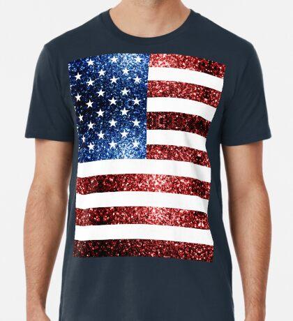 USA flag red blue sparkles glitters Men's Premium T-Shirt