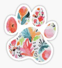 Bright Floral Paw Print Sticker