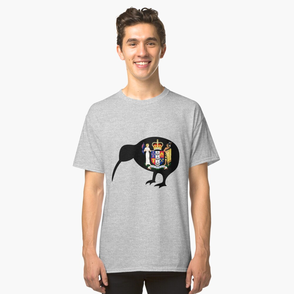 NEW ZEALAND-KIWI COAT OF ARMS Classic T-Shirt Front