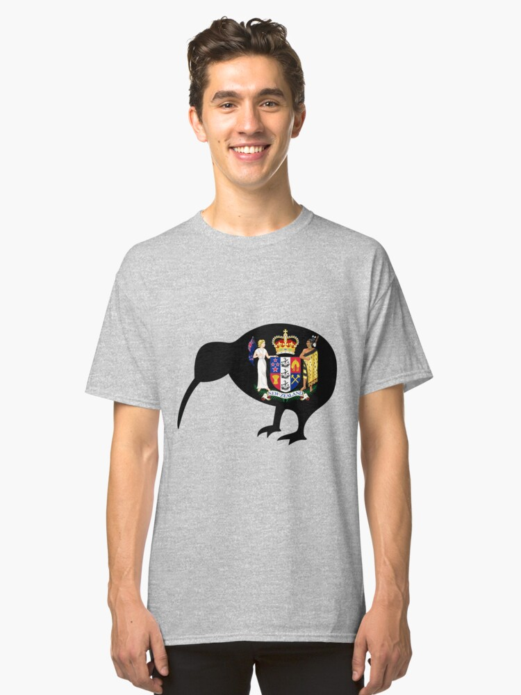 NEW ZEALAND-KIWI COAT OF ARMS Classic T-Shirt Front