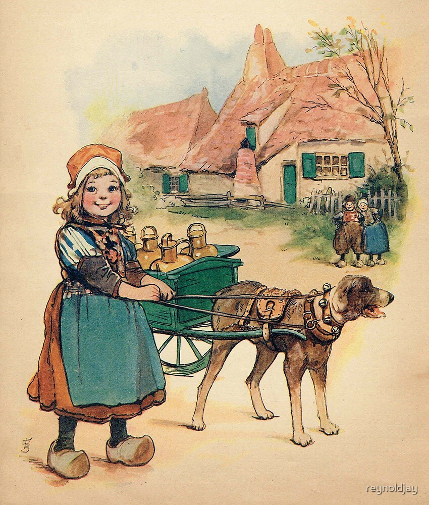 Dutch Girl with Milk Wagon by reynoldjay
