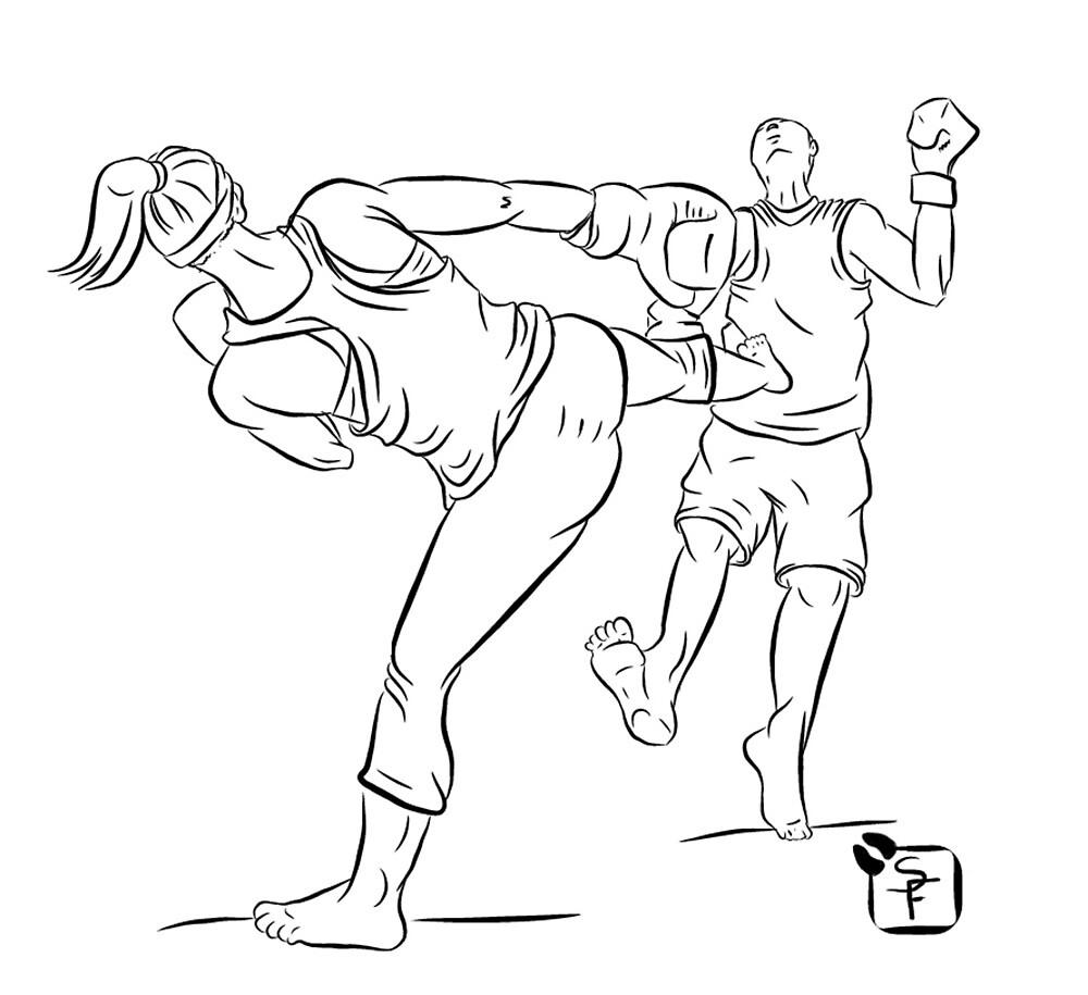Kick Boxing Queen - Line Art by SonneFaunArt