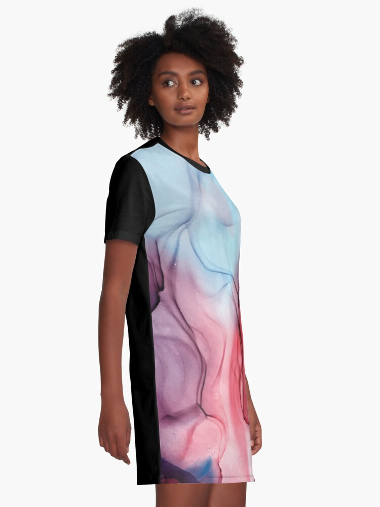 Alternate view of Flame Fired Alcohol Ink Painting Graphic T-Shirt Dress