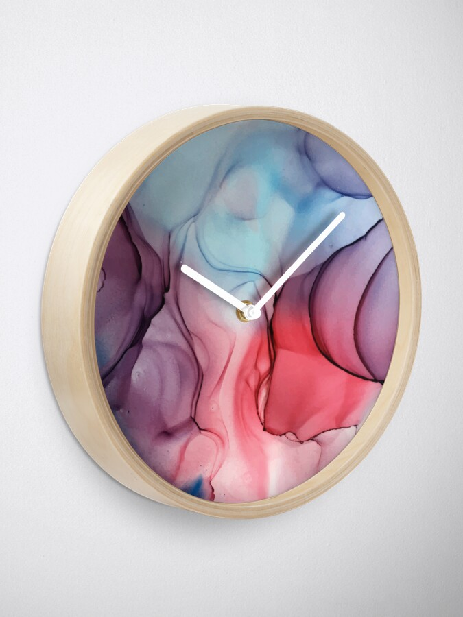 Alternate view of Flame Fired Alcohol Ink Painting Clock