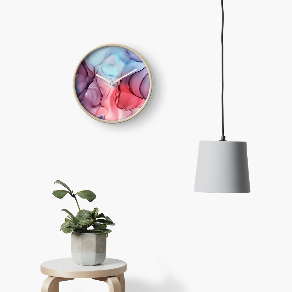 Flame Fired Alcohol Ink Painting Clock