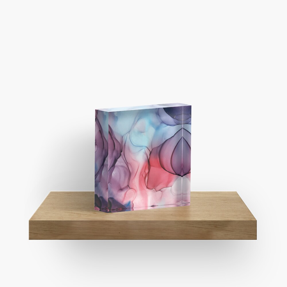 Flame Fired Alcohol Ink Painting Acrylic Block