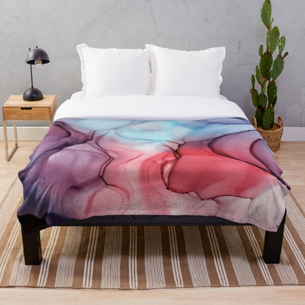 Flame Fired Alcohol Ink Painting Throw Blanket