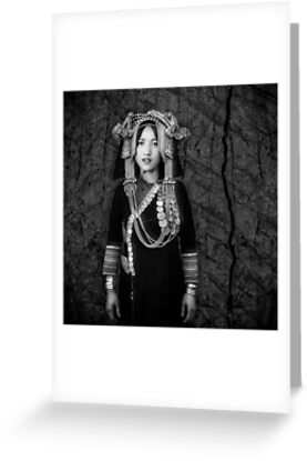 'Akha Hill Tribe Innocence' Greeting Card by Glen Allison