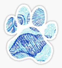 Blue Seashell Paw Print Sticker
