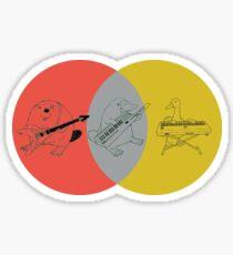 Keytar Platypus Venn Diagram - Red Gray Yellow Sticker